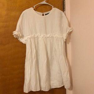 Zara ruffled white dress